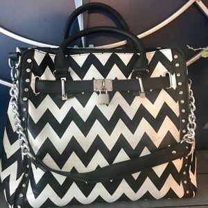 Black and white chevron handbag purse chain straps